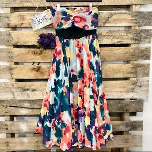 The Limited Colorful Flowy Floral Strapless Dress